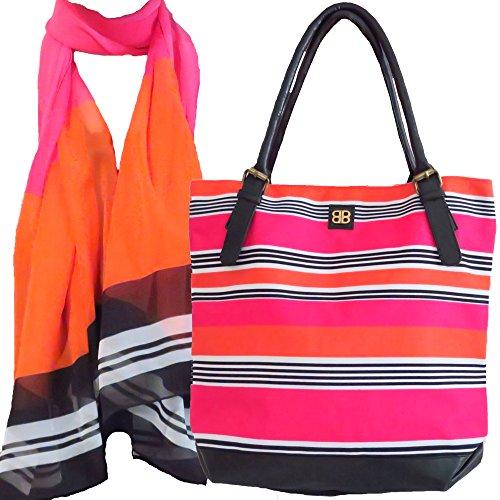 Bagabook Schutzhülle für Bold Candy Stripe Set Tote Stil Umhängetasche Georgette Mode Schal (Stripe Schal Bold)