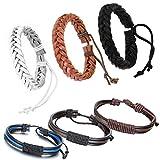 cupimatch 6 Stücken Damen Herren Armbänder, Geflochten Punk Rock Armreifen, Leder Verstellbaren Größen Armband, braun schwarz weiss - 2