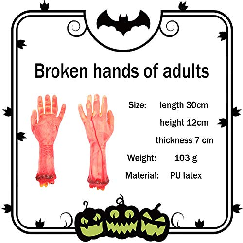 Halloween Masken Erwachsene Unheimlich Bloody Horror Halloween Decor Prop Ein Paar Gebrochene Hand Und Kopf Gefälschte Abgetrennter Arm Hand Finger Finger Knochen Scar Halloween Kostüm ()