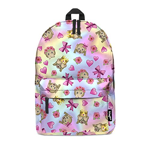 Imagen de fringoo® emoji mono color niñas niños kids  bolso de escuela   bolsa de viaje equipaje de mano emoji holograma multicolor emoji monkey colour regular