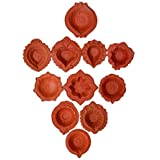 The Himalaya Craft eco haat set of 21 Traditional Handmade Earthen Clay / Terracotta Decorative Dipawali / Diwali Diya / Oil Lamps for Pooja / Puja to brighten your home this Diwal (randomaly diya)