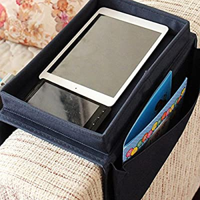 SZTARA Sofa TV Remote Control Handset Holder Organiser Caddy For Arm Rests With Cup Holder Tray - Fits Over Chairs, Sofas Armchairs With Wide Arm Pockets - cheap UK light shop.