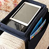 SZTARA Sofa TV Remote Control Handset Holder Organiser Caddy For Arm Rests With Cup Holder Tray - Fits Over Chairs, Sofas Armchairs With Wide Arm Pockets