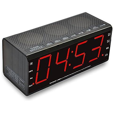 Sistema de agosto de MB300Mini de madera MP3estéreo y FM Radio Reloj, con lector de tarjetas, puerto USB y AUX IN de audio jack (3,5mm), 2x 3W altavoces Hi-Fi y batería recargable