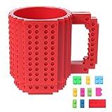 Jiamins DIY Kreative Lego Puzzle Bausteine Becher Kaffeetasse,Lernspielzeug,Tolles Geschenk für Kinder (Rot)