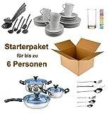 STEWA Haushalt Starterset 6 Personen - Wohneinrichtung Starterpaket - Einrichtungspaket - (Küche, Besteck, Geschirr)