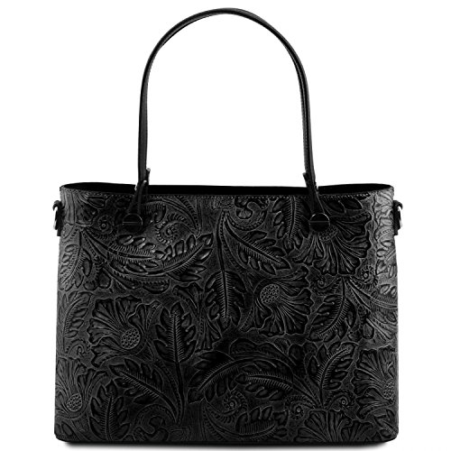 Tuscany Leather Atena Borsa shopping in pelle stampa floreale Nude Nero
