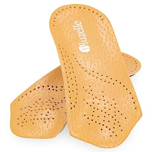 bluzelle 3/4 Kurz-Fußbett aus Echt-Leder mit Bogenstütze, Komfort Einlege-Sohle Atmungsaktive Schuh-Einlage zur Entlastung + Schonung, Größe:35/36 -