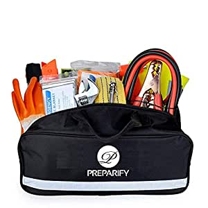 Preparify Car Emergency Kit with Roadside Assistance Jumper Cables - Tow Rope – Warning Triangle – Safety Vest and More Ideal Accessories for your Car