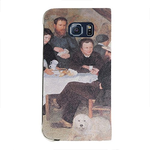 Renoir - The Cabaret Of Mm Antony, Portafoglio Mesh Flip Custodia Protectiva in PU Pelle Wallet Case Cover Shell Nero con Design Colorato per Samsung Galaxy S6 Edge G9200.