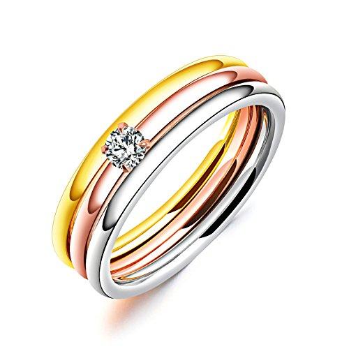 Bishilin Edelstahl Damen Ring Tricolorring 3 Ringe Set Zirkonia Freundschaftsing Hochzeitsringe Tricolor Größe 60 (19.1)
