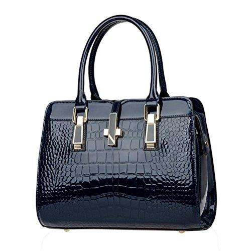 Fashion Damen PU Leder Lady Casual Vintage Krokodil Top Griff Handtasche Geldbörse Handtasche dunkelblau