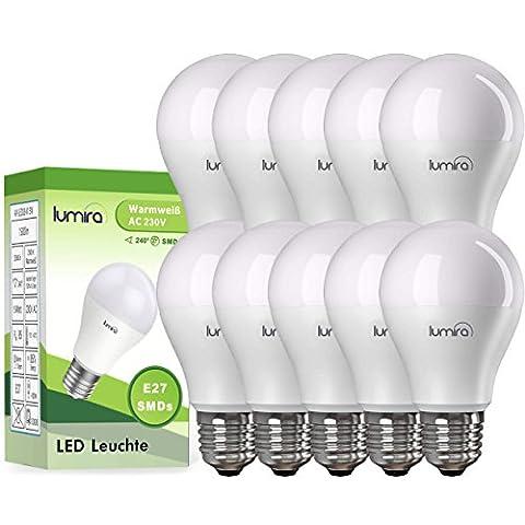 LUMIRA LED E27 Lampe ersetzt 100 W Glühlampe, 15 Watt warmweiß (2900 Kelvin), 1500 Lumen, 240° Abstrahlwinkel, A60 Leuchte, Energiesparlampe, matt, 10er