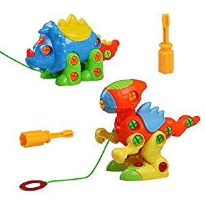 Assemble and Disassemble Dinosaurs DIY Take-apart Pull Along Toys 2 Sets for Kids over 3 Years Old