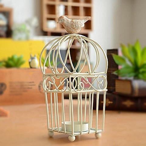 GYN Europea del ferro retrò classico bianco piazza ferro uccello candela titolare Creative Home Desktop decorazioni