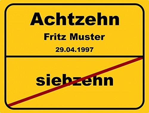 Ortsschild aus Aluminium in DIN A5, A4 und DIN A3 Geburtstag Deko Geschenk Verkehrsschild - Vers.2, Schildausführung:18 Jahre;Größe:A3 - 420 x 297