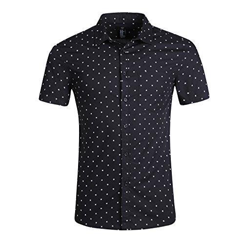 Herren Kurzarm Slim Fit Freizeithemd Fashion Retro Short Sleeve T-Shirts Bügelfrei Schwarz Stern L (Retro Western-hemden Für Männer)