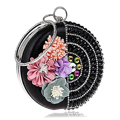 WANGXN donne frizioni con diamanti abito da sposa in raso abito da sposa con fiori , silver black