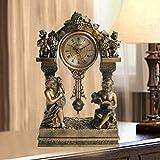 QFQ Europäische Antike Bronze Kleine Schaukel Sitz Glocke Paar Schreibtisch Uhr Kreative Bell Bell Halle Ruhig Stumm Ti