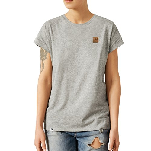 urban air StyleFit | T-Shirt | Damen | Sport, Freizeit | 100% Baumwolle, Leder-Patch, Rundhals-Ausschnitt, Kurzarm | Hell Grau | L | Loose Fit, Leicht Tailliert (Vintage-sport-shirt Baumwolle)