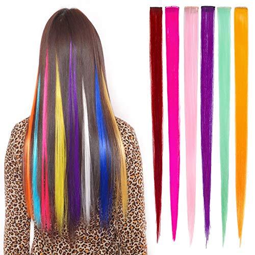 Extensions Perücken Clip Highlight Haar Mehrfarbig Zubehör Glatt Haar Perücken Bunte Haarteile für Kinder Mädchen ()
