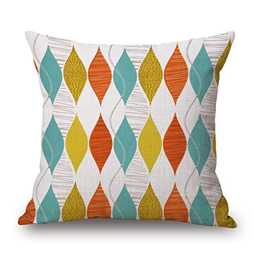 Harry wang Nordic Simple-Style Bright Decorative Printed Cotton Linen Throw Pillow Covers Pillow Case-Pattern,45x45cm -