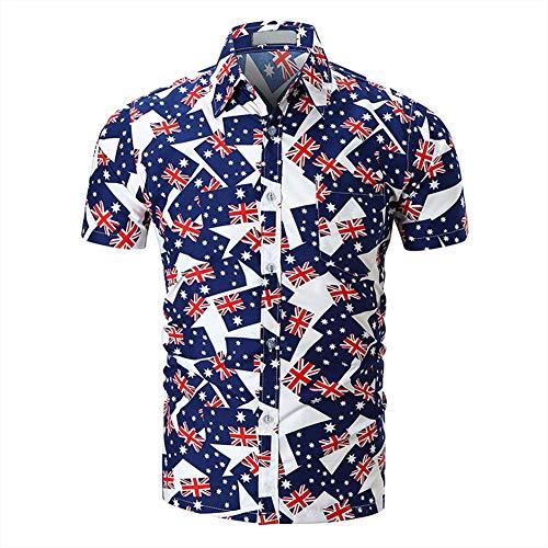 Toredy Kurzärmliges Hemd Fahnendruck Strandwind Strickjacke Farbabstimmung Shirt,001,XXL