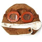 chinkyboo Cool dehnbar Kids Pilot Aviator Helm hat–Eine aufgesetzte Brillen–Schwarz/Braun, Braun