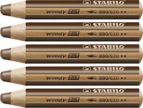 STABILO Woody 3 in 1 matitone colorato colore Terra d'Ombra Bruciata - Confezione da 5