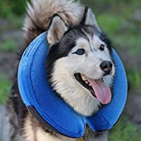 MorTime Protective Inflatable Collar Dogs Cats - Soft Pet Recovery Collar Does Not Block Vision E-Collar (X-Large)