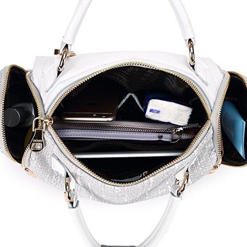 Borsa Donna Grigio Tracolla Tela Paglia Ufficio in PU Pelle Borse Spalla a Mano Canvas Bag per Ragazze grigio cuscino