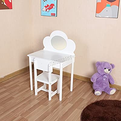 FoxHunter Kids Children Girls Dressing Table Chair Set Makeup Vanity Flower Mirror Desk Bedroom Fairy KDT01 MDF White New - low-cost UK light store.