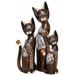 3 x Deko Figur Katze Ginger braun aus Albesia Holz im Set, Höhe 30cm+40cm+50cm groß, Holzfigur Katzen Kätzchen Kunsthandwerk aus Bali handgefertigt