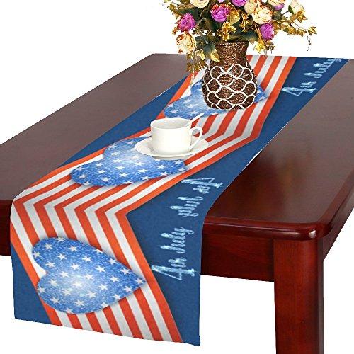interestprint Amerikanische Flagge mit Herz Polyester Tischläufer Tisch-Sets 40,6x 182,9cm, 4. Juli Tischdecke für Büro Küche Esszimmer Hochzeit Party Home Decor