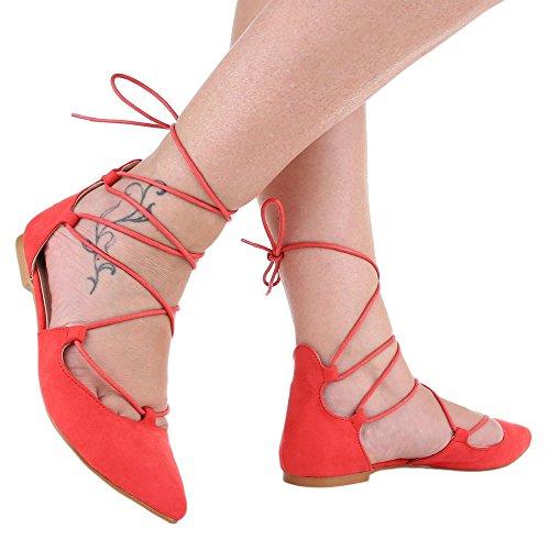 Damen Schuhe, 1351-PL, PUMPS SCHNÜR Rot
