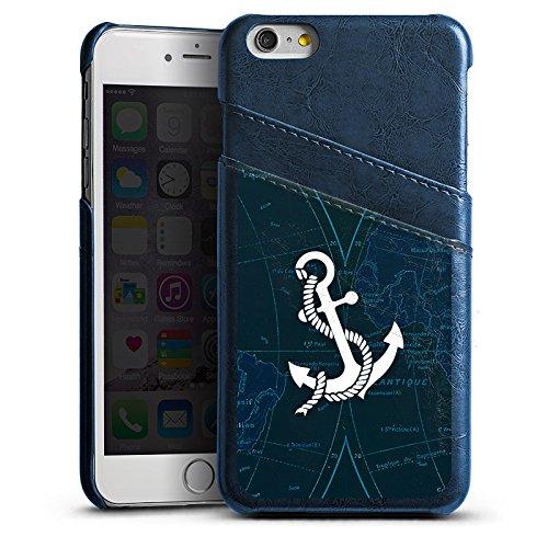 Apple iPhone 5s Lederhülle Leder Case Leder Handyhülle Anker Segeln Schiff Leder Case Navyblau