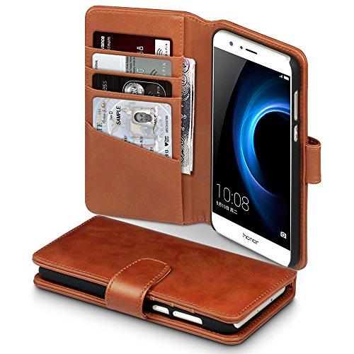 Huawei Honor 8 Case, Terrapin [ECHT LEDER] Brieftasche Case Hülle mit Kartenfächer und Bargeld für Huawei Honor 8 Hülle Cognac