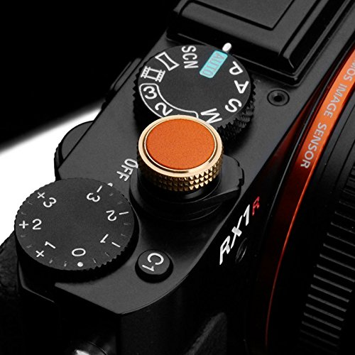 Auslöseknopf für Sony RX Serie | Soft Release Button aus massivem Messing und feinstem Leder | Auslöser Knopf von Gariz Design | Shutter Release Button Lederfarbe: Orange | XA-SBLORS Cyber-shot Soft Case