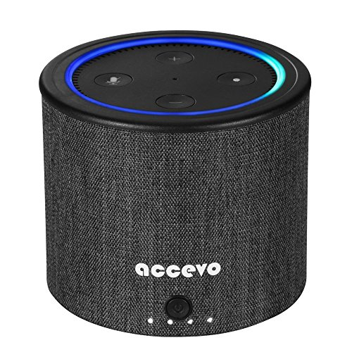 Accevo Battery Base for Echo Dot 2, 10000mAh External Batteries Protective Cover for 2nd Generation Echo Dot Alexa (Black)