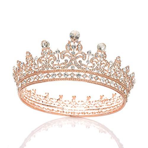SWEETV Strass-Krone, Hochzeit, Königin-Krone für Frauen - Festzug, Braut-Diadem, Stirnband, Prinzessin-Krone, Haarschmuck für Braut