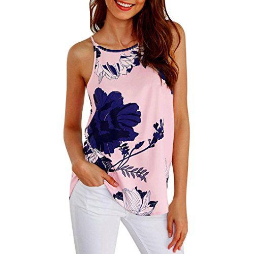 OSYARD Damen Ärmellose Blume gedruckt Tank Top Casual Bluse Weste T-Shirt(EU 40 / S, Rosa) Classic 47 Fit Denim Jean