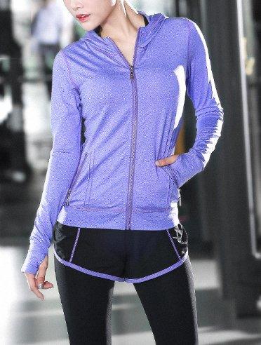 Beatayang Femme Ensemble de Sport Gym Yoga Suit Fitness Jogging Soutien-gorge Sans Armature Survêtement Leggings Pantalon + Bra + Vestes 1018violet