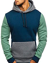 MEIbax Casual Sudaderas con Capucha para Hombres Camuflaje Estampado de Moda Empalme Manga Larga otoño Invierno