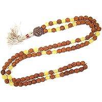 Mogul Interior FREE YANTRA Rudraksha Yellow Jade Prayer Beads Japa Mala Beads Necklace