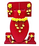 #8: Floret Jewellery Yellow color Gota Patti necklace, Earrings, bracelet & Maang Tika For Women & Girls (Mehandi/Haldi/Bride)