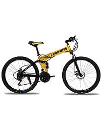 MoMi Bicicleta de montaña Plegable 20/24/26 Pulgadas de Acero con Alto Contenido de Carbono 21/24/27 Velocidad de Cambio de Freno de Disco Bicicletas Masculinas y Femeninas