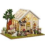 Miniature Puppenhaus Holzpuppenhaus, Ulanda Puppenhaus mit Möbeln, DIY Häuser Dollhouse Puppenhausmöbel Kit Geschenk mit LED Licht (F)