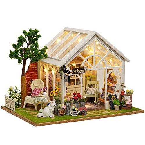DingLong Sonnenschein Garten DIY Miniaturhaus der Haus-LED des Hauses DIY verzieren kreative Geschenke Puppenhaus