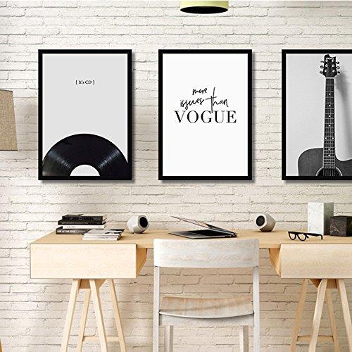 ZY Nordic Gitarre einfache abstrakte Wohnzimmer Sofa Hintergrund Wand hängen schwarze und weiße bar Schlafzimmer Bett dekorative Malerei, 50 * 70 * 1,2 -