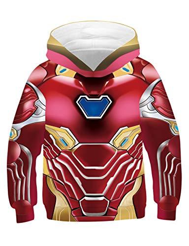 PIZOFF Jungen Mädchen Hoodie 3D Print Kapuzenpullover Sweatshirts Mit Kapuze Pullover Superhero Cosplay Kostüm Iron Man